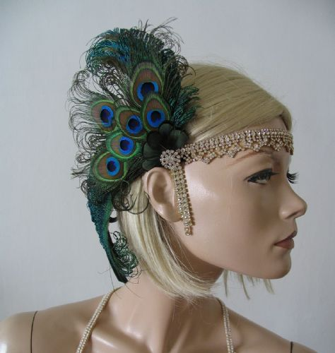 "Green Black Peacock Feathers Crystal ""Sky"" Headband Headpiece 1920s Art Deco Gatsby Flapper Inspired"